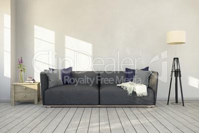3d rendering - interior of scandinavian living room