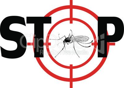 Stop zika virus. Vector qnat mosquto sign illustration