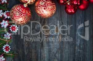 New Year and Christmas background with toys and spruce branches
