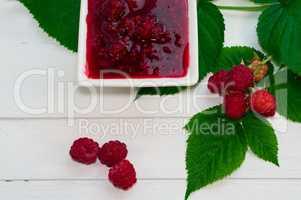 Jam made from fresh raspberries