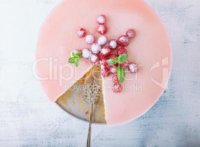 Raspberry yogurt cake decorated with the berries