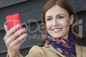 Middle Aged Woman Taking Cell Phone Selfie