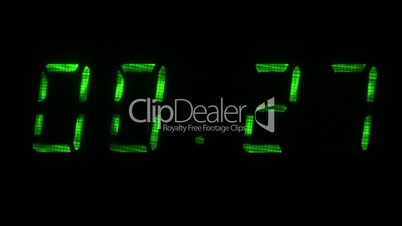 Digital countdown timer with an interval 30 seconds 00:30 - 00:00 digits green