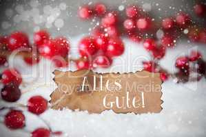Burnt Label, Snow, Snowflakes, Alles Gute Means Best Wishes