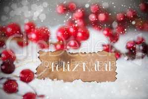 Burnt Label, Snow, Snowflakes, Feliz Natal Means Merry Christmas