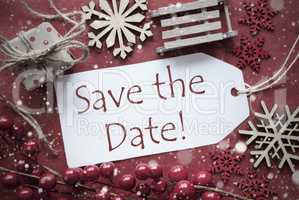 Nostalgic Christmas Decoration, Label With English Text Save The Date