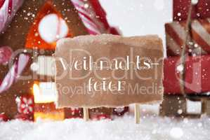 Gingerbread House With Sled, Snowflakes, Weihnachtsfeier Means Christmas Party
