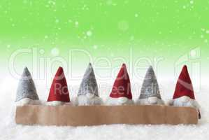 Gnomes, Green Background, Snowflakes, Copy Space
