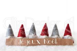 Gnomes, White Background, Joyeux Noel Means Merry Christmas