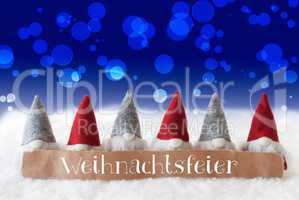 Gnomes, Blue Background, Bokeh, Weihnachtsfeier Means Christmas Party