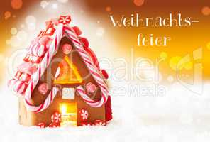 Gingerbread House, Golden Background, Weihnachtsfeier Means Christmas Party