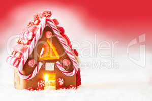 Gingerbread House With Red Background, Copy Space