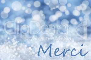 Blue Bokeh Christmas Background, Snow, Merci Means Thank You