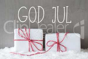 Two Gifts With Snow, God Jul Means Merry Christmas