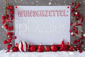 Label, Snowflakes, Christmas Balls, Wunschzettel Means Wish List