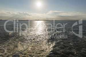 Wake behind the ferry from Harlingen to Vlieland in the Netherla