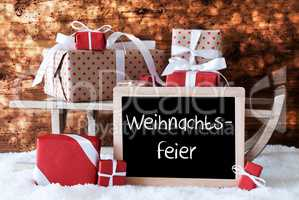 Sleigh With Gifts, Snow, Bokeh, Weihnachtsfeier Means Christmas Party
