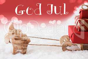 Reindeer With Sled, Red Background, God Jul Means Merry Christmas