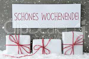 White Gift With Snowflakes, Schoenes Wochenende Means Happy Weekend