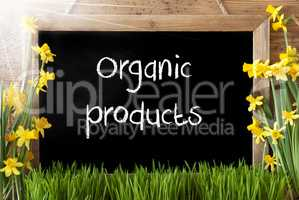 Sunny Spring Narcissus, Chalkboard, Text Organic Products
