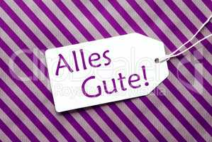 Label On Purple Wrapping Paper, Alles Gute Means Best Wishes