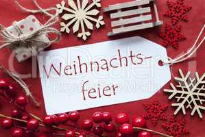 Label With Decoration, Weihnachtsfeier Means Christmas Party