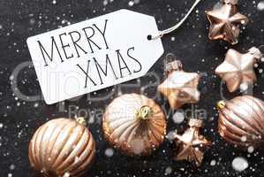 Bronze Christmas Balls, Snowflakes, Text Merry Xmas