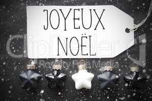 Black Balls, Snowflakes, Joyeux Noel Means Merry Christmas