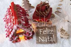 Gingerbread House, Sled, Snow, Feliz Natal Means Merry Christmas