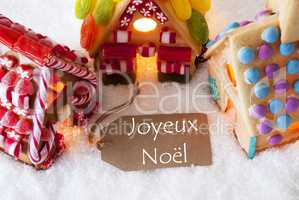 Colorful Gingerbread House, Snow, Joyeux Noel Means Merry Christmas