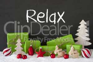 Christmas Decoration, Cement, Snow, Text Relax