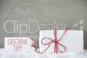 Urban Cement Background, Geschenk Tipp Means Gift Tip