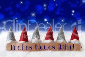 Gnomes, Blue Bokeh, Stars, Frohes Neues Jahr Means New Year