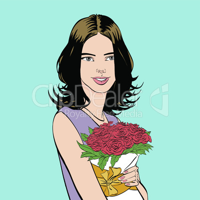 Beautiful young woman with a bouquet of roses