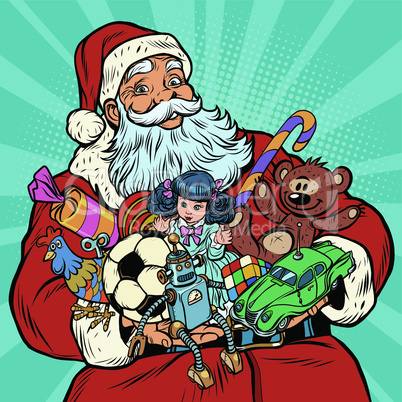 Santa Claus with gifts, rooster year