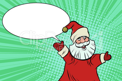 Joyful good pop art retro Santa Claus