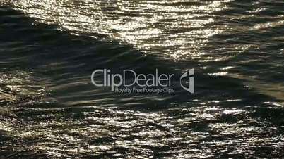 Loop of the sea waves. Backlight with patches of sunlight. Natural dawn footage.
