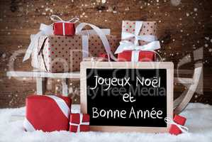 Sleigh With Gifts, Snow, Snowflakes, Bonne Annee Means New Year
