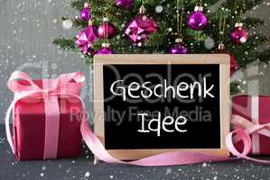 Tree With Gifts, Snowflakes, Geschenk Idee Means Gift Idea
