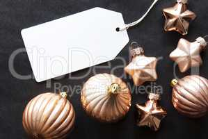 Bronze Christmas Tree Balls, Label With Copy Space