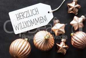 Bronze Christmas Tree Balls, Herzlich Willkommen Means Welcome