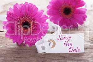 Pink Spring Gerbera, Label, Text Save The Date