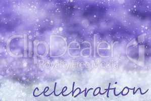 Purple Christmas Background, Snow, Snowflakes, Text Celebration
