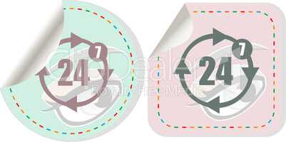 button with twenty four hours by seven days icon, isolated on white