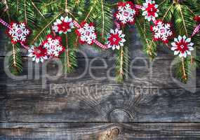 Christmas garland of spruce branches, and the felt snowflakes