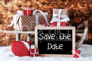 Sleigh With Gifts, Snow, Bokeh, English Text Save The Date