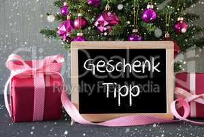 Tree With Gifts, Snowflakes, Geschenk Tipp Means Gift Tip