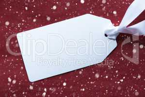 One Label On Red Background, Snowflakes And Copy Space