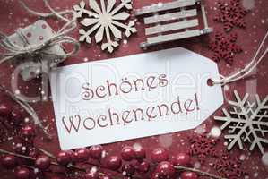 Nostalgic Christmas Decoration, Label With Wochenende Means Weekend