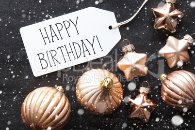 Bronze Christmas Balls Snowflakes Text Happy Birthday